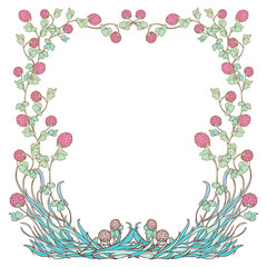 Decorative square frame with pink clover in bloom. St. Patrick's day festive design. EPS 10 vector illustration