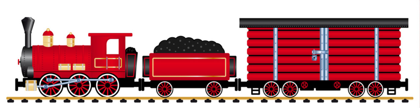 Cargo steam train on a rail road Vector illustration