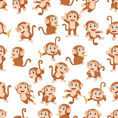 Seamless pattern with monkey with the different posing