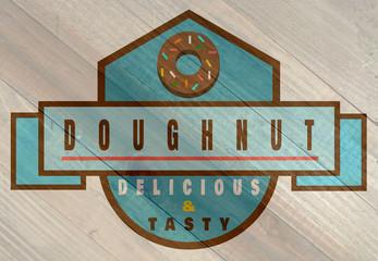 vintage doughnut sign on wood grain texture