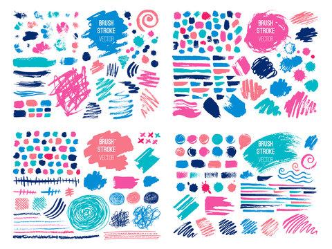 Set stroke spot blod. Brush, pen, marker, chalk. Color pastel. Vector distressed grunge modern textured brush stroke, doodle, doodles, scribbled, chalkboard. Dry brush. Hand drawn vector.