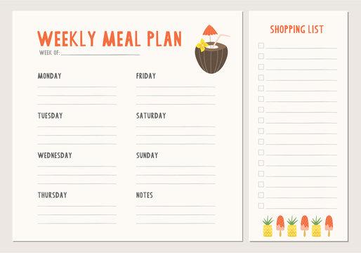 Weekly meal plan. Menu template.