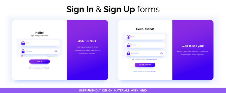 Set of Sign Up and Sign In forms. Purple gradient.