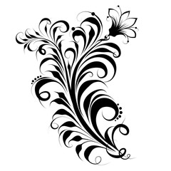 Patterns. Russian ornament, Khokhloma flower, vector pattern on white background.