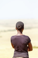 African young woman from behind