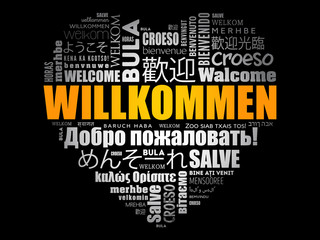 Willkommen (Welcome in German) love heart word cloud in different languages