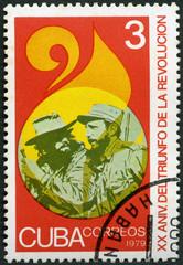 CUBA - 1979: shows commander Fidel Alejandro Castro Ruz (1926-2016) and soldier, Triumph of the Revolution, 20th anniversary