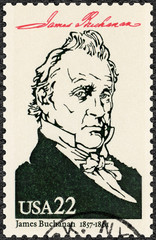 USA - 1986: shows Portrait of James Buchanan Jr (1791-1868), 15th president of the United States, series Presidents of USA