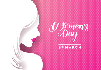 Happy Womens Day Floral Greeting Card Design. International Female Holiday Illustration with Women Silhouette and Typography Letter Design on Pink Background. Vector International 8 March Template.