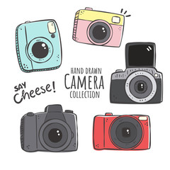 Colorful vector illustration of retro camera set. Hand drawn vintage photocameras set with cute patterns.