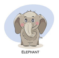 Baby elephant. Funny vector illustration, animal picture for kids.