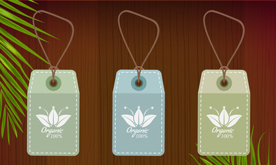 Natural tags with organic symbol or sign on wooden background and palm leaf. Vector Illustration