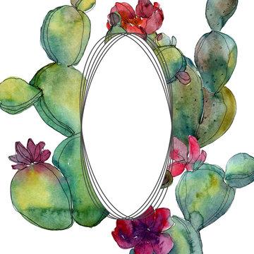 Green cactus floral botanical flower. Watercolor background illustration set. Frame border ornament square