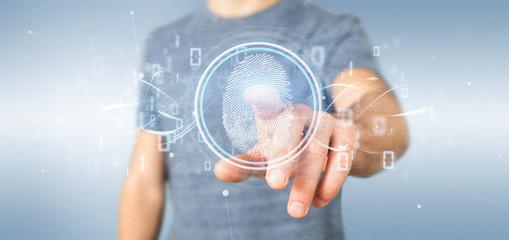 Businessman holding a Digital fingerprint identification and binary code 3d rendering Wall mural