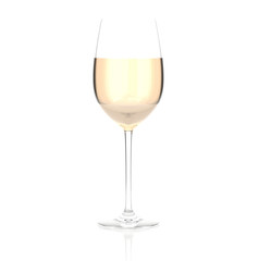 White wine glass. 3d rendering illustration isolated on white background