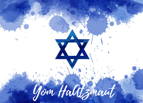 Watercolor Israel flag - Yom HaAtzmaut holiday