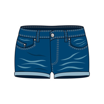 Women's clothing - blue denim shorts