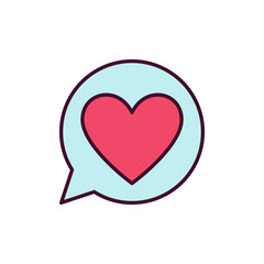 Red Heart in Blue Speech Bubble vector icon. Love Message concept symbol on white background