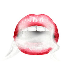 Sexy lips with red lipstick and Smoke coming from mouth. Watercolor hand drawn illustration, isolated on white background