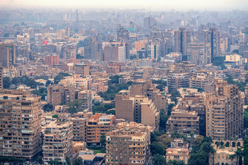 .11/18/2018 Cairo, Egypt, panoramic view of the central and business part of the city from the observation deck at the highest tower of the African capital at sunset