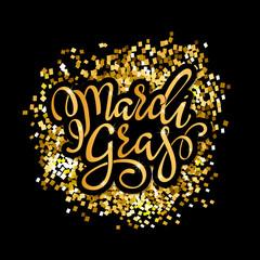 Mardi Gras gold glitter calligraphy