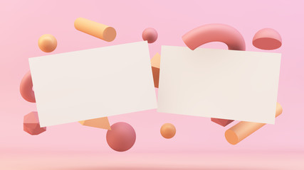 business cards floating with primitives background