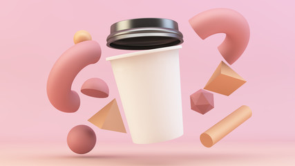 floating coffee cup with primitives mockup