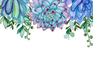 Watercolor succulent flowers template.
