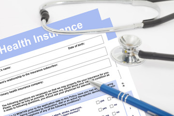 Health insurance form with stethoscope. Blank medical questionnaire. Health insurance concept.