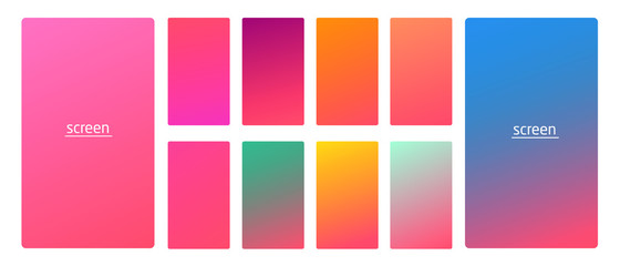 Vibrant and living smooth gradient soft colors coral palette for devices, pc's and modern smartphone screen backgrounds set vector ux and ui design illustration.
