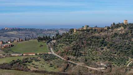 Beautiful aerial view of Monticchiello and Pienza, Siena, Tuscany, Italy
