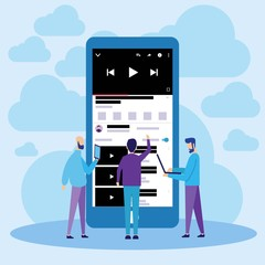 Mobile Online Video Movie Streaming Illustration Concept