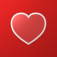 Blank red heart paper sticker with shadow on red color wall background for valentines day card background 3D rendering