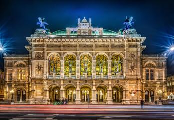 Vienna State Opera at night, Vienna, Austria.