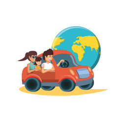 family driving tourism little car with world planet