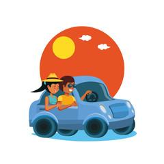 couple driving tourism little car