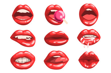 Red glossy lips set, girls mouth with red lipstick makeup expressing different emotions vector Illustrations on a white background