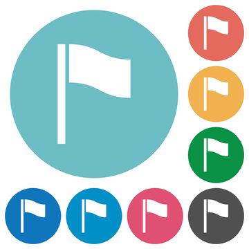 Flag flat round icons