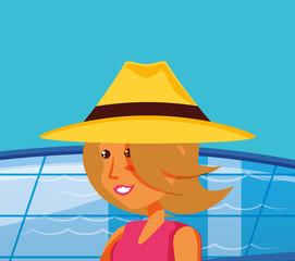 young woman in pool luxury scene