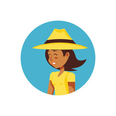 woman tourist with hat avatar character