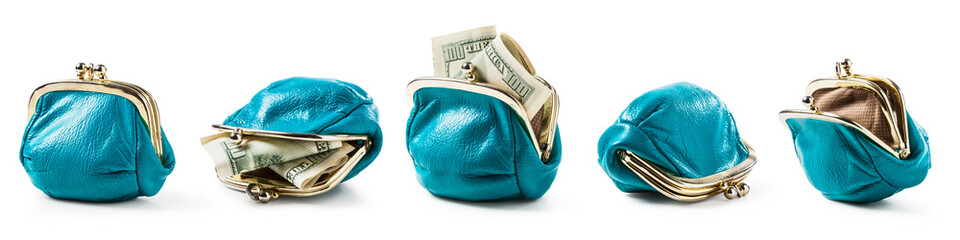 Blue coin purse empty and with money set.