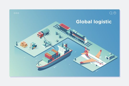 Global Logistic Isometric Vehicle Infographic.Concept of air cargo trucking rail transportation maritime shipping On-time delivery Vehicles designed to carry large numbers