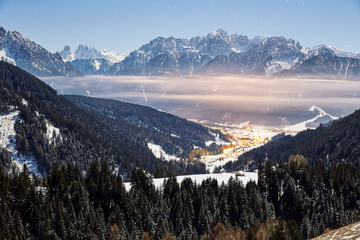 Toblach at sunset with clouds