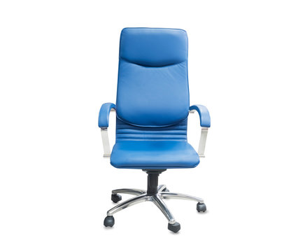 The office chair from blue leather. Isolated over white