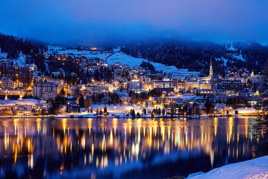 St. Moritz resort at night
