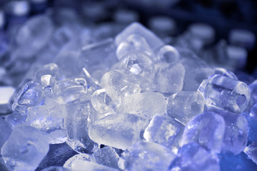 Real ice close up background. Ice for cooling food and drinks