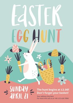Easter egg hunt poster or invitation template. Vector illustration.
