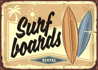 Surf boards rental retro beach sign layout. Sand, surfing and sea tropical paradise advertising. Vintage vector poster.