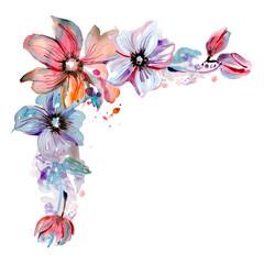 Cute watercolor hand painted flower corner. Invitation. Wedding card. Birthday card