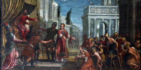 St. Lawrence leads the poor prefect of Valerian Wall mural